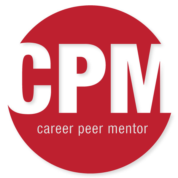 "The Carnegie Mellon Career Peer Mentor logo. The logo is a read circle with the phrase ""CPM career peer mentor"" in white."