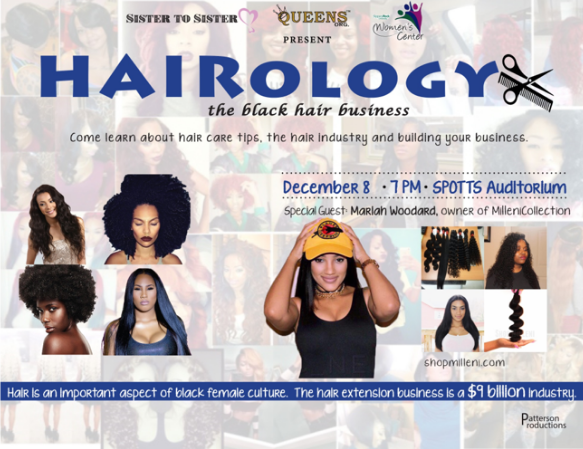 "Poster for ""Hairology: the Black hair business"" which includes photos of Black women in various hairstyles including guest Mariah Woodard, own of MilleniCollection"