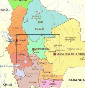 A zoomed-in map of South America focused on Bolivia